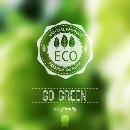Illustration for Vector blurred landscape, eco badge, ecology label, nature view.Green, organic product. Eco products, organic standard, or premium quality green product. Quote - Royalty Free Image