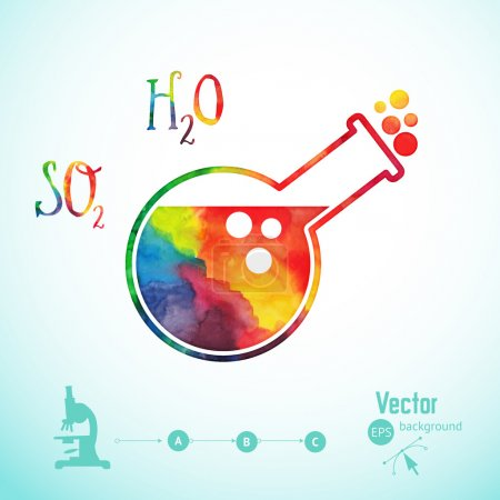 Illustration for Chemical tube. Vector illustration. Watercolor  silhouette. vector watercolor tube silhouette, scientific background, microscope sign - Royalty Free Image
