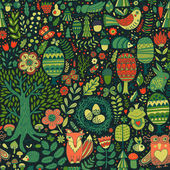 floral seamless pattern with forest animals