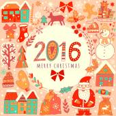 Christmas greeting card template vector Winter holiday design frame wreath design made of childish doodles: Santa houses deer winter forest mittens snowman