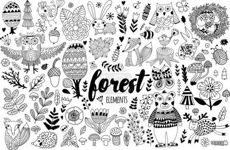 Illustration pour Éléments de forêt vectorielle dans un style puéril gribouillé, animaux et insectes dessinés à la main, arbres et plantes - image libre de droit
