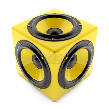 Photo pour Render illustration of yellow sound speakers on cube - image libre de droit