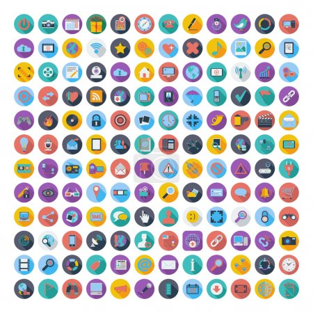 Illustration for 121 Social media and network color flat icons. Vector illustration. - Royalty Free Image