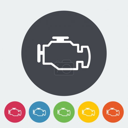 Illustration for Engine. Single flat icon on the circle. Vector illustration. - Royalty Free Image