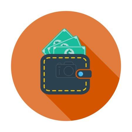 Illustration pour Sac à main avec dollar. Icône simple couleur plate. Illustration vectorielle . - image libre de droit