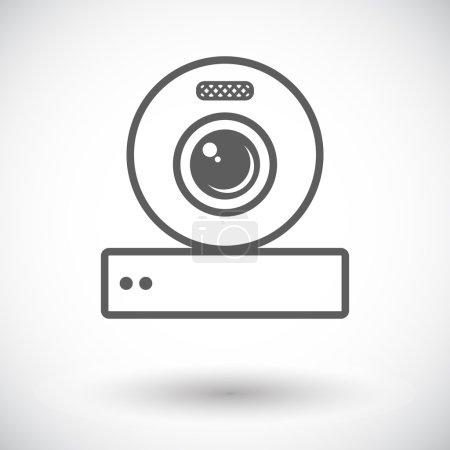 Web cam. Single flat icon on white background. Vec...