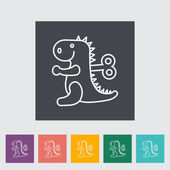 Dinosaurus toy thin line flat vector related icon set for web and mobile applications It can be used as - pictogram icon infographic element Vector Illustration