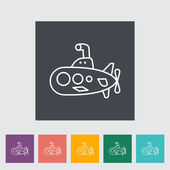 Submarine thin line flat vector related icon set for web and mobile applications It can be used as - pictogram icon infographic element Vector Illustration