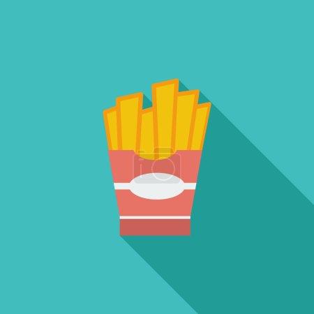 Illustration pour Icône des frites. Icône vectorielle plate avec ombre longue pour applications web et mobiles. Il peut être utilisé comme logo, pictogramme, icône, élément infographique. Illustration vectorielle - image libre de droit