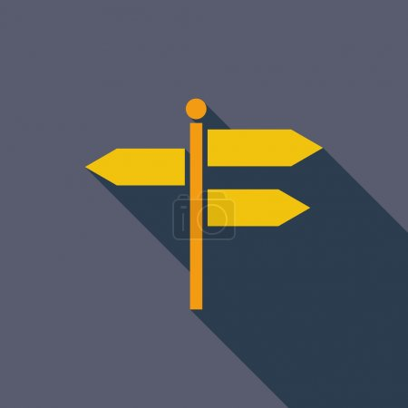 Illustration for Signpost icon. Flat vector related icon with long shadow for web and mobile applications. It can be used as - logo, pictogram, icon, infographic element. Vector Illustration - Royalty Free Image