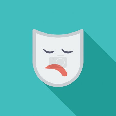 Illustration for Theatrical mask icon. Flat vector related icon with long shadow for web and mobile applications. It can be used as - logo, pictogram, icon, infographic element. Vector Illustration - Royalty Free Image