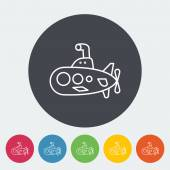 Submarine icon Thin line flat vector related icon for web and mobile applications It can be used as - logo pictogram icon infographic element Vector Illustration