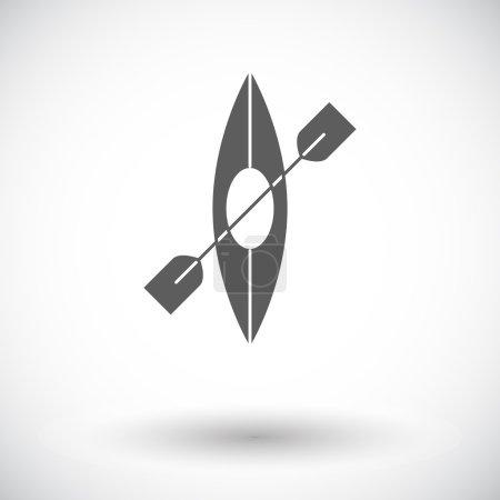 Illustration for Canoe. Single flat icon on white background. Vector illustration - Royalty Free Image