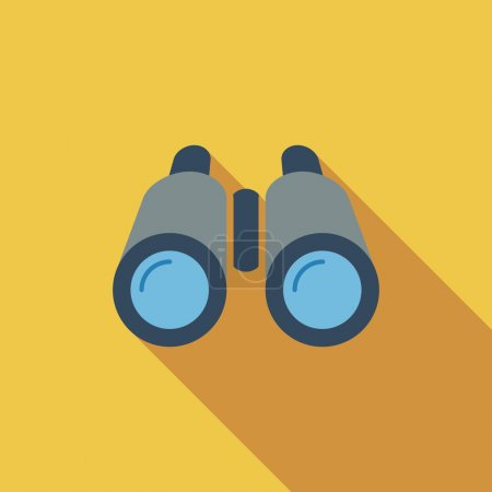 Illustration for Binoculars icon. Flat vector related icon with long shadow for web and mobile applications. It can be used as - logo, pictogram, icon, infographic element. Vector Illustration - Royalty Free Image