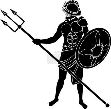 Gladiator of ancient roman empire. vector illustra...