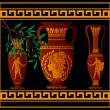 Ancient amphora and jugs. vector illustration...