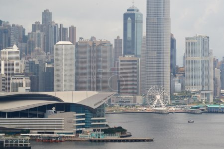 Photo pour HONG KONG - 01 JUIN 2015 : vue de Hong Kong. Hong Kong, est un territoire autonome sur la côte sud de la Chine à l'estuaire de la rivière des Perles et la mer de Chine méridionale - image libre de droit