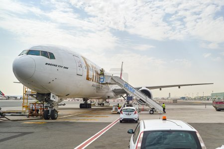Jet aircraft docked in Dubai airport