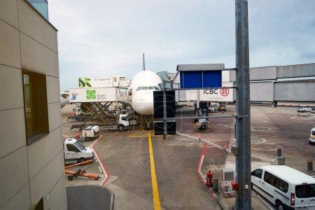 aircraft docked in Frankfurt Airport