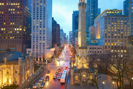 Chicago in the evening, usa