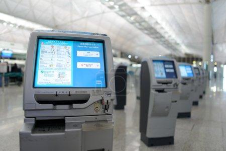 HONG KONG - APRIL 01: check-in kiosks in Airport o...