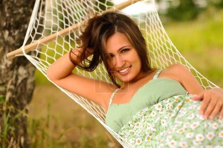 Woman rest in hammock