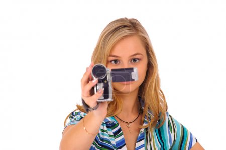Woman with digital camcorder
