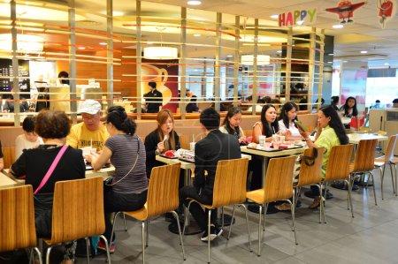 Customers in McDonalds restaurant