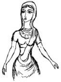Hand drawn doodle sketch illustration of Indian girl