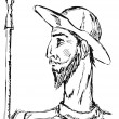 Hand drawn, doodle illustration of Don Quixote...