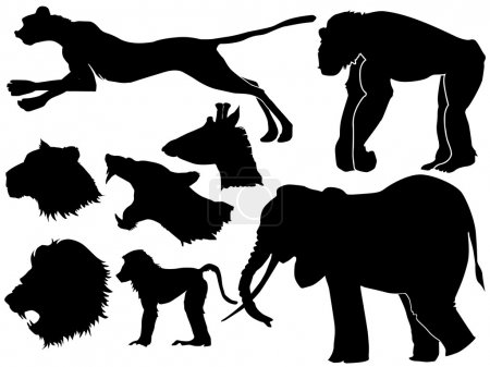 Illustration for Set of silhouettes of African animals - Royalty Free Image