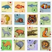 Animal stamps with wolf lion tiger and other animals