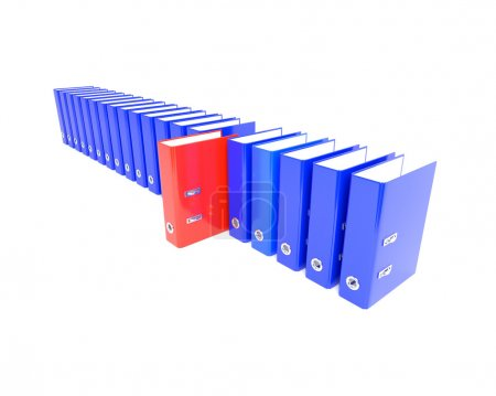Red Folder in the series blue. 3D illustration