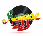 The record reggae music Musical plastic plate with the word REGGAE on a white background with shadow REGGAE Illustration Stock vector