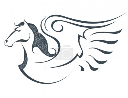 Grunge sketch of a flying pegasus, isolated on white background.