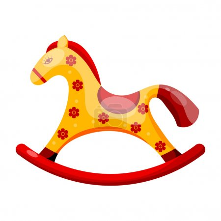 Illustration for Toy rocking horse decorated with flowers isolated on a white background. Vector illustration. - Royalty Free Image