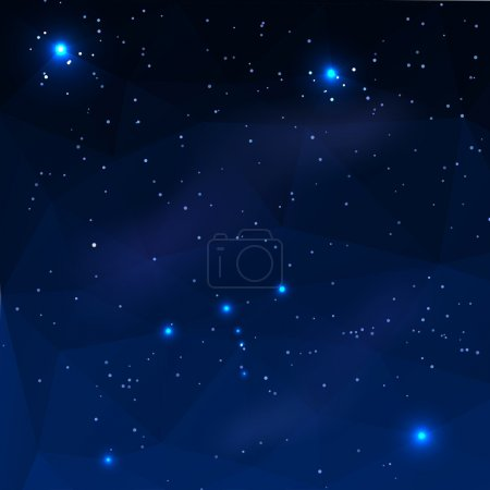 Constellation of Orion on a dark blue background in the polygona