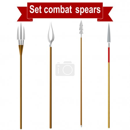 Set combat spears isolated on