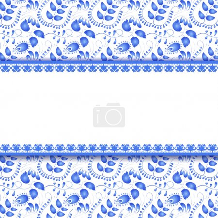 Seamless floral background with a field for the text. Gzhel. Vec