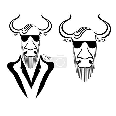 Illustration pour Placez un taureau dans une veste avec de la camomille dans les dents et des lunettes isolées sur fond blanc. Hipster. Illustration vectorielle . - image libre de droit