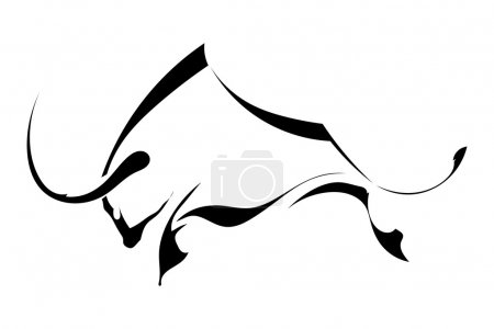 Black silhouette in profile bull isolated on white background. L