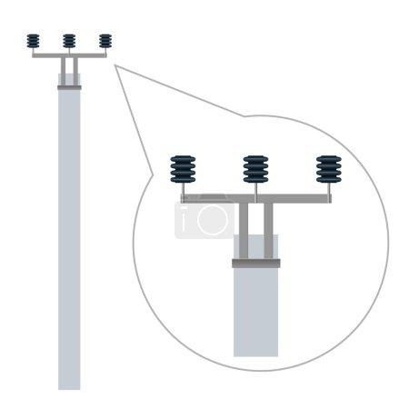 Electric pole with ceramic insulators. Vector illustration