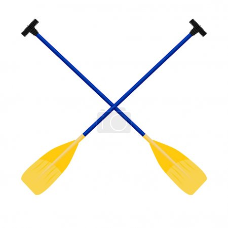 Paddles yellow-blue isolated on white background. Vector illustr