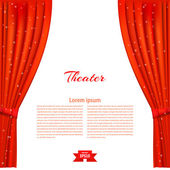Banner with theater stage and red theater curtain Design your t