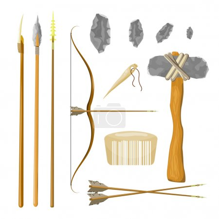 Set tools of prehistoric man: bow and arrow, spear, hammer, comb
