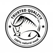 Round logo label with silhouette bull Design badge for your fa