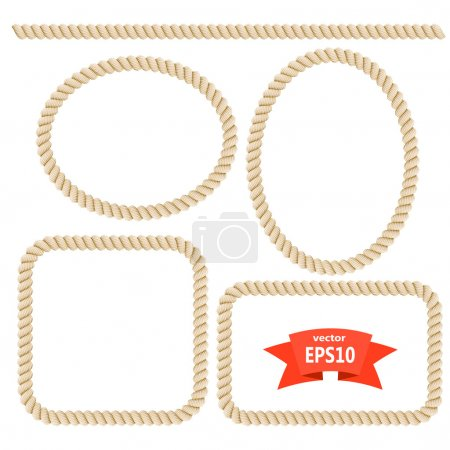 Set rope frame. Design elements. Vector illustration