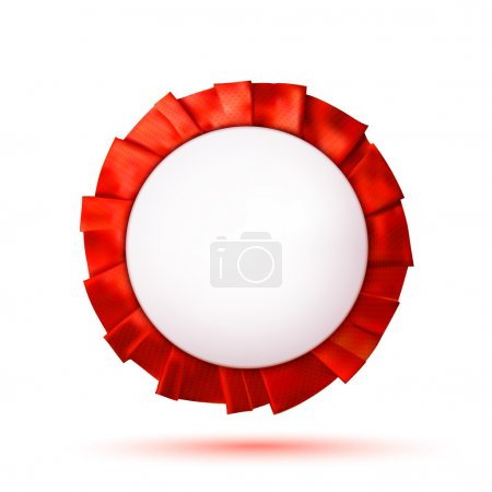Empty white plastic badge with a red ribbon. Design element. Vec