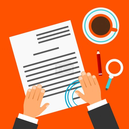 Bright red background with a document, contract, coffee cup, pen