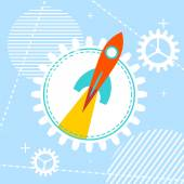 Blue technology background with a rocket at the start Design yo